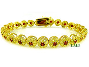 "1 Row Yellow and Blood Red Lab Made Diamond 8"" 3D Cluster Bracelet (Clear-Coated)"
