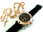 COMBO DEAL! Rose gold tone moon-cut rosary chain + watch w/Black silicone band (package#3)