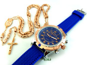 COMBO DEAL! Rose gold tone moon-cut rosary chain + watch w/Blue silicone band (package#4)