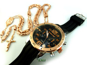 COMBO DEAL! Rose gold tone moon-cut rosary chain + watch w/Black silicone band (package#5)