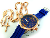 COMBO DEAL! Rose gold tone moon-cut rosary chain + watch w/Blue silicone band (package#6)
