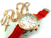 COMBO DEAL! Rose gold tone moon-cut rosary chain + watch w/Red silicone band (package#7)
