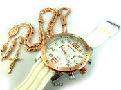 COMBO DEAL! Rose gold tone moon-cut rosary chain + watch w/White silicone band (package#8)