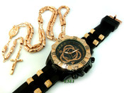 COMBO DEAL! Rose gold tone moon-cut rosary chain + watch w/Black silicone band (package#10)