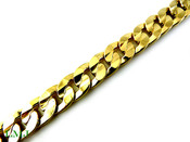 "8.25"" 14K Gold Plated Cuban Link Bracelet - 10mm wide (Clear-Coated)"