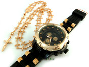 COMBO DEAL! Rose gold tone cross-link rosary chain + watch w/Black silicone band (package#2)