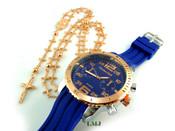 COMBO DEAL! Rose gold tone cross-link rosary chain + watch w/Blue silicone band (package#6)