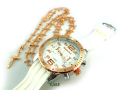 COMBO DEAL! Rose gold tone cross-link rosary chain + watch w/White silicone band (package#8)