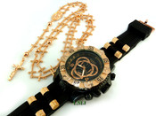 COMBO DEAL! Rose gold tone cross-link rosary chain + watch w/Black silicone band (package#10)