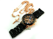 COMBO DEAL! Rose gold tone moon-cut ball bead rosary chain and watch w/metal band (package #1)
