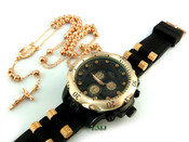 COMBO DEAL! Rose gold tone moon-cut ball bead rosary chain + watch w/Black silicone band (package#2)