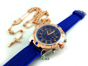 COMBO DEAL! Rose gold tone moon-cut ball bead rosary chain + watch w/Blue silicone band (package#4)