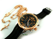 COMBO DEAL! Rose gold tone moon-cut ball bead rosary chain + watch w/Black silicone band (package#5)