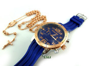 COMBO DEAL! Rose gold tone moon-cut ball bead rosary chain + watch w/Blue silicone band (package#6)