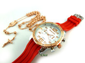 COMBO DEAL! Rose gold tone moon-cut ball bead rosary chain + watch w/Red silicone band (package#7)
