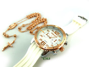 COMBO DEAL! Rose gold tone moon-cut ball bead rosary chain + watch w/White silicone band (package#8)