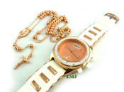 COMBO DEAL! Rose gold tone moon-cut ball bead rosary chain + watch w/White silicone band (package#9)
