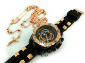 COMBO DEAL! Rose gold tone moon-cut ball bead rosary chain + watch w/Black silicone band (package#10)