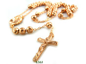 "Rose gold tone moon-cut ball bead rosary chain-30"" (clear-coated)"
