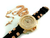 "COMBO DEAL! Rose gold tone moon-cut ball bead rosary chain + ""Fully Loaded Colloseum"" watch (package#14)"