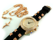 "COMBO DEAL! Rose gold tone moon-cut ball bead rosary chain + ""Fully Loaded Classic"" watch (package#15)"