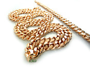 "COMBO DEAL! 36"" 14K Rose Gold Plated Cuban Link Chain + 8.5"" Cuban Link Bracelet -8mm wide (Clear-Coated)"
