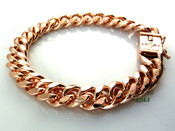 "8.5"" 14K Rose Gold Plated Cuban Link Bracelet (w/BOX LOCK CLASP) -8mm wide (Clear-Coated)"