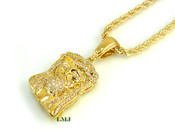 "14K Gold tone ""Micro Jesus"" White Lab Made Diamond Pendant + 24"" Rope 2.5mm Chain (Clear-Coated)"
