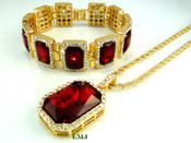 "COMBO DEAL! 14K Gold tone simulated ""Rectangle Ruby Solitaire"" Pendant + Bracelet + 24"" Rope Chain (Clear-Coated)"