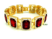 "14K Gold tone simulated ""Rectangle Ruby Solitaire"" Bracelet (Clear-Coated)"
