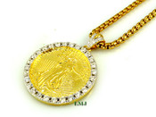 "18K Gold tone ""2-Sided Lady Liberty Coin"" White Lab Made Diamond Pendant + ""Yurman"" 2.5mm 24"" Chain (Clear-Coated)"