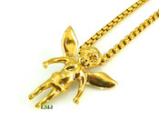 "18K Gold/Stainless Steel ""Micro Angel"" pendant + ""Yurman"" 24"" Chain - 2mm (Clear-Coated)"