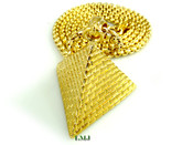 "14K Gold tone ""3D Pyramid"" Pendant + ""Yurman"" 2.5mm 24"" Chain (Clear-Coated)"