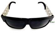 Silver tone Cuban Chain Link Sunglasses - Black Frame/Black Lens