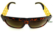 24K Gold tone Cuban Chain Link Sunglasses - Brown Tortoise Frame/Brown Lens