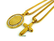 "COMBO DEAL! 18K Gold/Stainless Steel ""Virgin Mary + Micro Cross"" pendants + ""Yurman"" 24"" Chains - 2mm (Clear-Coated)"