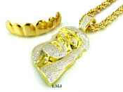 "COMBO DEAL! 14K Gold tone ""Top Grille + Classic Jesus"" White Lab Made Diamond Pendant + 30"" Rope Chain (Clear-Coated)"