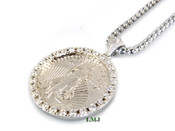 "925 Silver ""2-Sided Lady Liberty Coin"" White Lab Made Diamond Pendant + ""Yurman"" 2.5mm 24"" Chain"