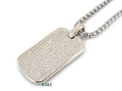 "925 Silver ""Fully Loaded Dog Tag"" White Lab Made Diamond Pendant + Stainless Steel ""Yurman"" 2.5mm 24"" Chain"