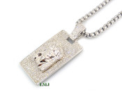 "925 Silver ""Micro Jesus Head Bar"" White Lab Made Diamond Pendant + Stainless Steel ""Yurman"" 2.5mm 24"" Chain"