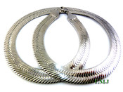"30"" Silver Tone Thick Herringbone Chain - 1/2"" Wide (Clear-Coated)"