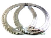 """30"""" Silver Tone Thick Herringbone Chain - 1/2"""" Wide (Clear-Coated)"""