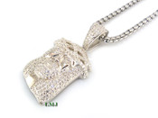 "925 Silver ""Micro Jesus Head"" White Lab Made Diamond Pendant + Stainless Steel ""Yurman"" 2.5mm 24"" Chain"