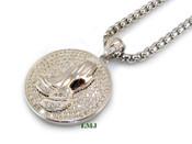 "925 Silver ""Praying Hands"" White Lab Made Diamond Circle Pendant + Stainless Steel ""Yurman"" 2.5mm 24"" Chain"