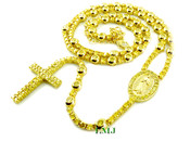 All Yellow Lab Made Diamond Virgin Mary Rosary Chain (Clear-Coated)