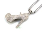 "925 Silver ""Womens Micro High Heel"" White Lab Made Diamond Pendant + Stainless Steel ""Yurman"" 2.5mm 24"" Chain"