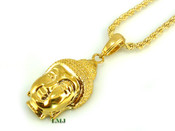 "14K Gold tone ""Micro Buddha Head"" Pendant + 24"" Rope 2.5mm Chain (Clear-Coated)"