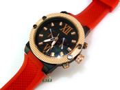 "14K Rose Gold tone ""Midtown"" Watch w/Red silicone band"