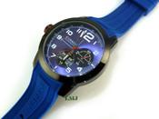 "Black tone ""GQ Tactical"" Watch w/Blue silicone band"