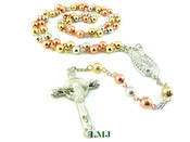 "Virgin Mary ""Tri-Color"" Gold/Rose/Silver toned Rosary Chain (Clear-Coated)"